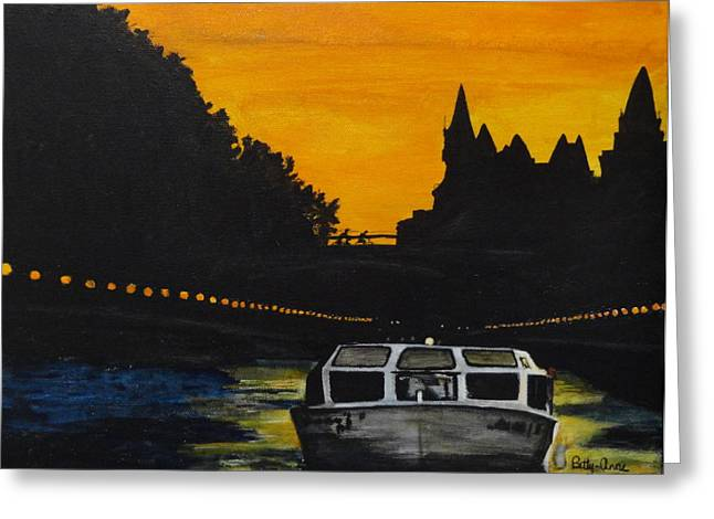 Ottawa Skyline Greeting Cards - Sunset on the Canal Greeting Card by Betty-Anne McDonald