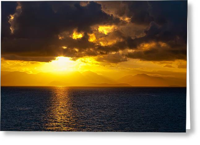 Ocean Sailing Greeting Cards - Sunset on the Mediterranean Greeting Card by Janet Fikar
