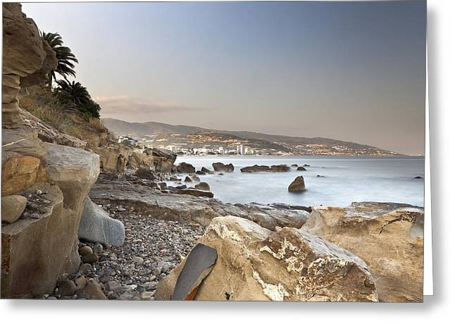 Sunset on the Mediterranean Greeting Card by Joana Kruse