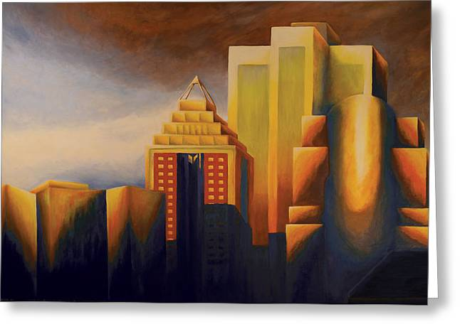 Montreal Urban Landscapes Greeting Cards - Sunset on the Montreal Skyline Greeting Card by Duane Gordon