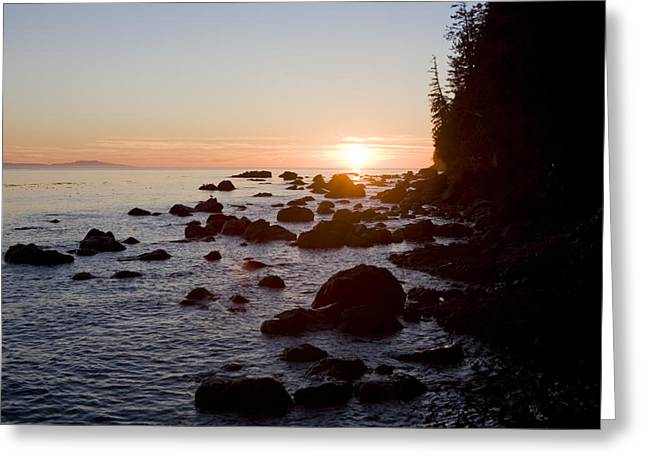 Juan De Fuca Greeting Cards - Sunset On The Pacific Northwest Coast Greeting Card by Taylor S. Kennedy