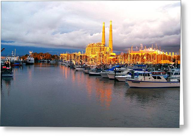 Moss Landing Boats Greeting Cards - Sunset on the Power Plant Greeting Card by Jim Salisbury
