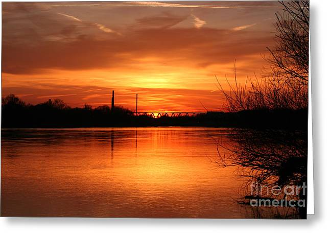 Flood Pyrography Greeting Cards - Sunset on the River Greeting Card by Torsten Dietrich