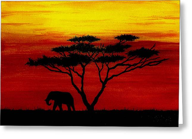 Serengeti Africa Drawing Greeting Cards - Sunset on the Serengeti Greeting Card by Michael Vigliotti