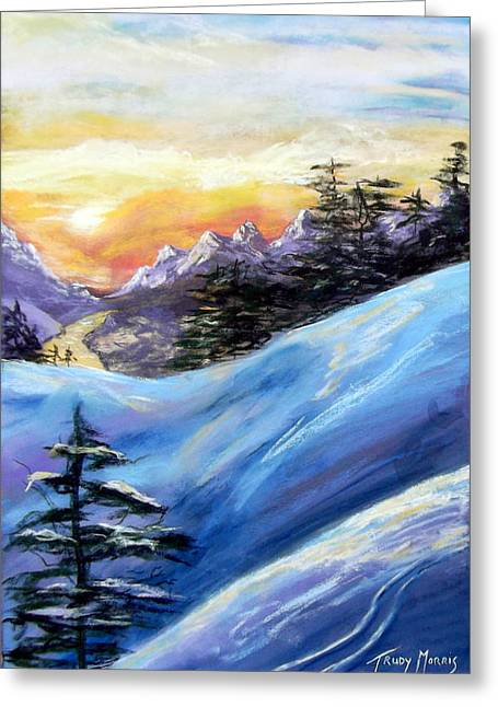 Sunset On The Snow Greeting Card by Trudy Morris
