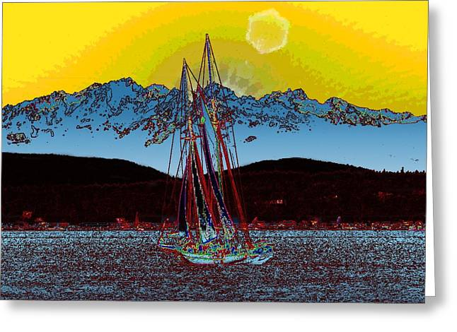 Yellow Sailboats Digital Art Greeting Cards - Sunset On The Sound Greeting Card by Tim Allen