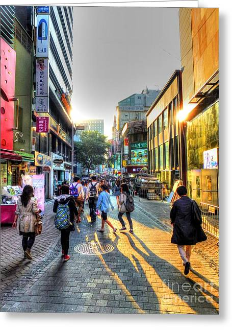 Seoul Greeting Cards - Sunset on the Streets of Seoul Greeting Card by Michael Garyet