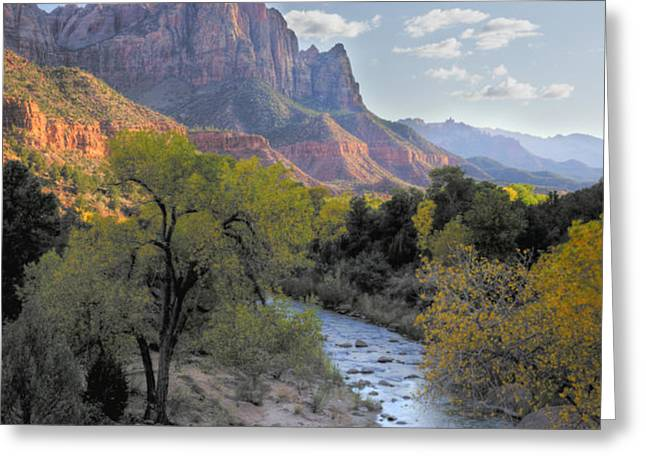 Sunset on The Watchman Greeting Card by Sandra Bronstein