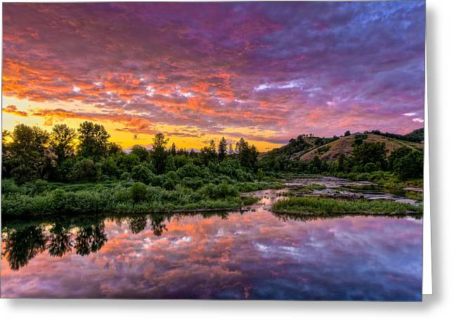 Umpqua River Greeting Cards - Sunset on Umpqua River Greeting Card by Greg Nyquist