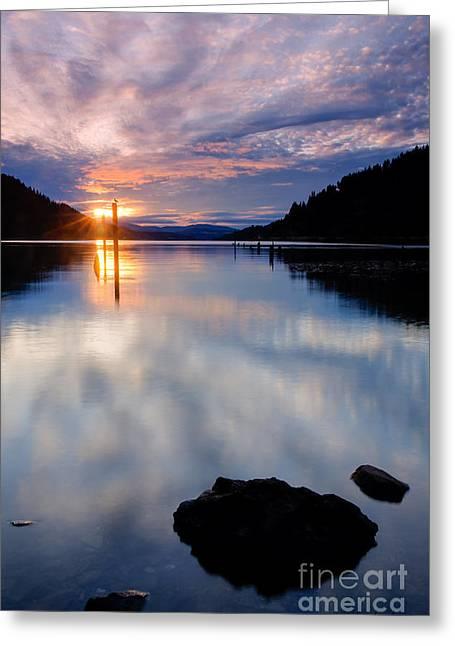 Scenic Idaho Greeting Cards - Sunset on Wolf Lodge Bay Greeting Card by Idaho Scenic Images Linda Lantzy