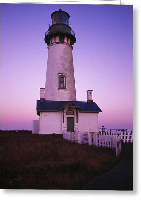 Head Harbour Lighthouse Greeting Cards - Sunset On Yaquina Head Lighthouse Greeting Card by Natural Selection Craig Tuttle