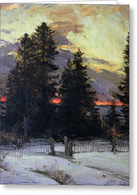 Sundown Paintings Greeting Cards - Sunset over a Winter Landscape Greeting Card by Abram Efimovich Arkhipov