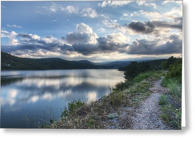 Sunset Over Barker Lake Greeting Card by Noah Katz