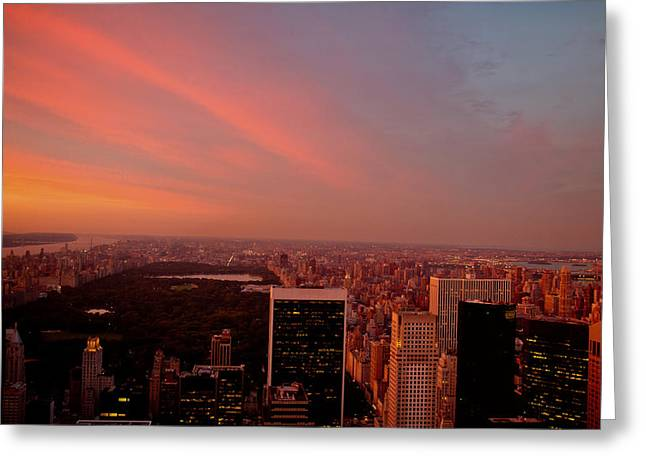 Midtown Greeting Cards - Sunset Over Central Park and the New York City Skyline Greeting Card by Vivienne Gucwa