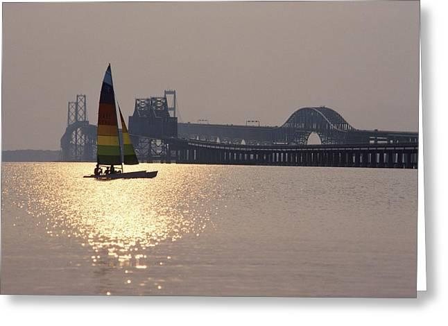 Chesapeake Bay Bridge Greeting Cards - Sunset over Chesapeake Greeting Card by Stephen St. John