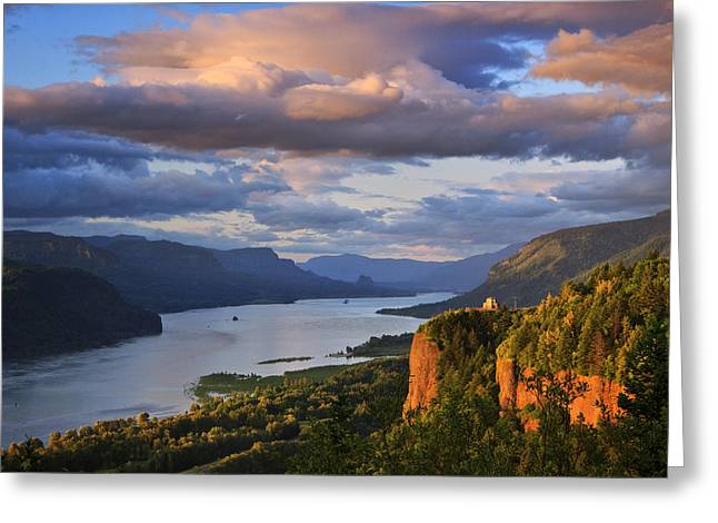 Chanticleer Greeting Cards - Sunset Over Crown Point Greeting Card by Jon Ares