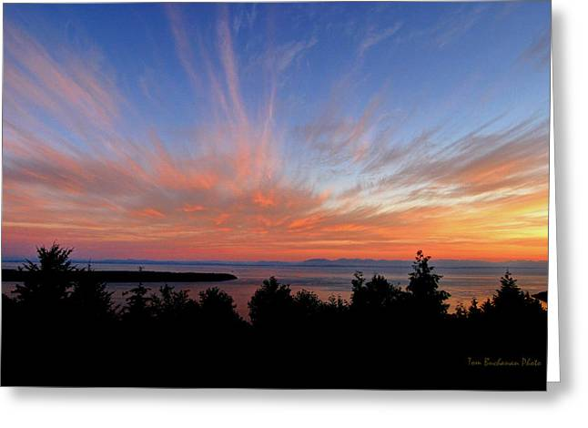 West Vancouver Greeting Cards - Sunset Over Cypress Greeting Card by Tom Buchanan