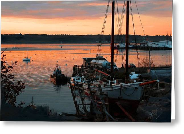 Photorealism Greeting Cards - Sunset Over Docked Schooners Greeting Card by Douglas Auld