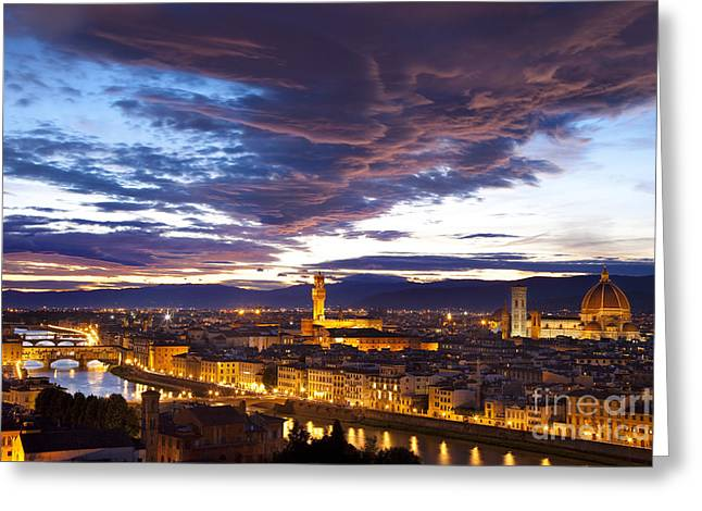 Michelangelo Greeting Cards - Sunset over Florence Greeting Card by Brian Jannsen