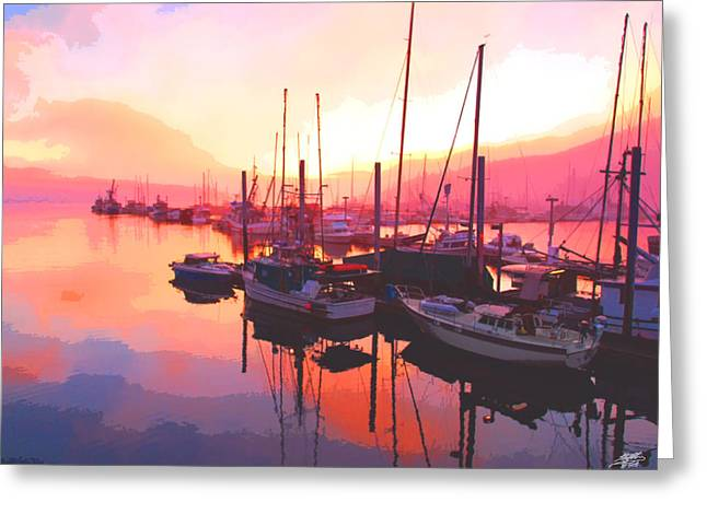 Steve Huang Greeting Cards - Sunset Over Harbor Greeting Card by Steve Huang