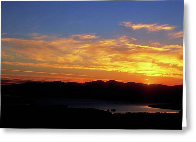 Sunset over Lake Champlain from Mount Philo Greeting Card by John Burk