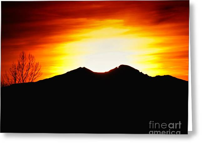 Sunset over Longs Peak Greeting Card by Harry Strharsky
