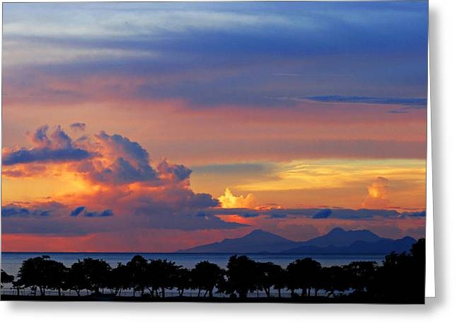 Sunset Greeting Cards Greeting Cards - Sunset over Martinique Greeting Card by Chester Williams