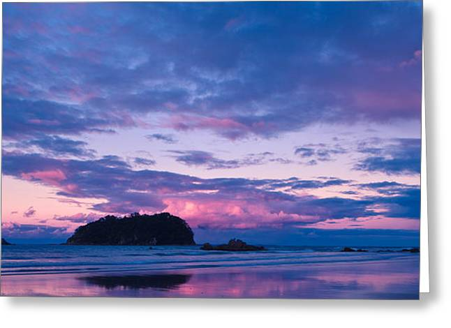 Mount Maunganui Greeting Cards - Sunset over Motuotau Island Greeting Card by John Buxton