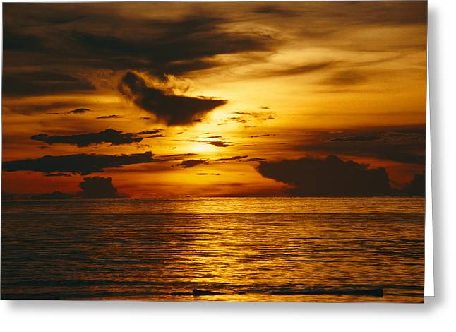 Yapping Greeting Cards - Sunset Over Pacific Ocean, Yap Islands Greeting Card by Joe Stancampiano
