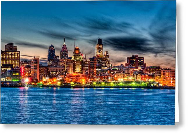 River Photography Greeting Cards - Sunset over philadelphia Greeting Card by Louis Dallara