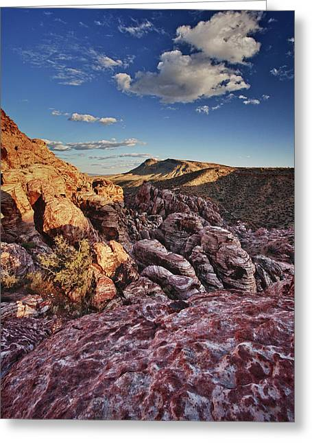 Red Rock Canyon Greeting Cards - Sunset over Red Rocks Greeting Card by Rick Berk
