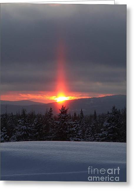 Sunset Over Snowy Mountains Greeting Card by Brenda Doucette