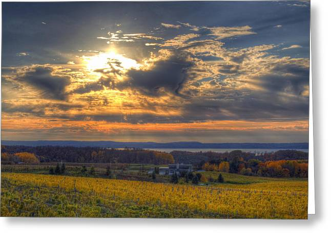 Traverse City Greeting Cards - Sunset over the Bay Greeting Card by Twenty Two North Photography