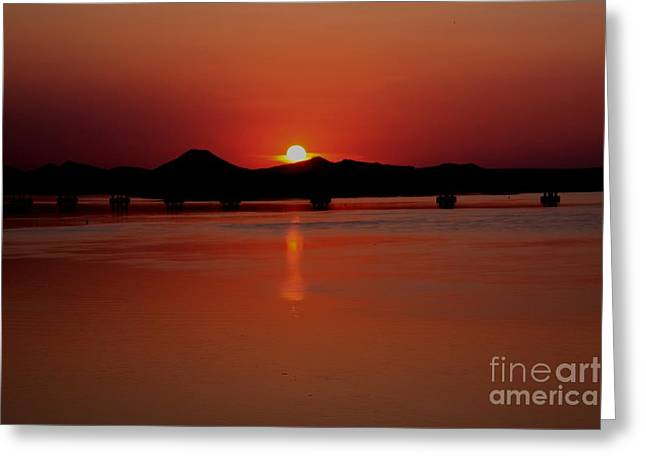 Sunset Over The Big Dam Bridge Greeting Card by Joe Finney