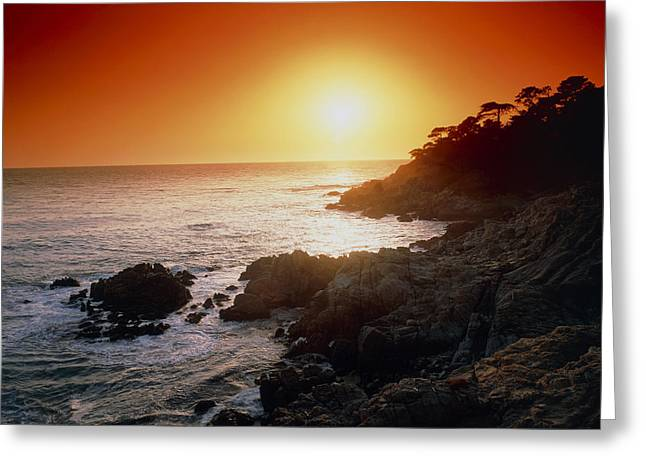 Big Sur California Greeting Cards - Sunset Over The Coastline Of Big Sur, California Greeting Card by Tony Craddock