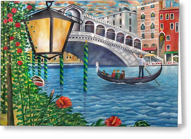 Sunset Over The Grand Canal Greeting Card by Ronald Haber