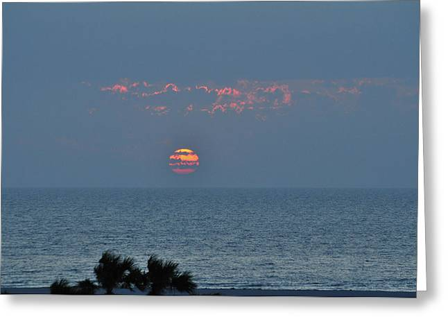 Sand Key Greeting Cards - Sunset Over the Gulf Greeting Card by Peter  McIntosh