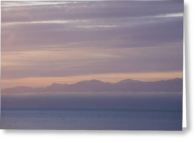 Juan De Fuca Greeting Cards - Sunset Over The Juan De Fuca Strait Greeting Card by Taylor S. Kennedy