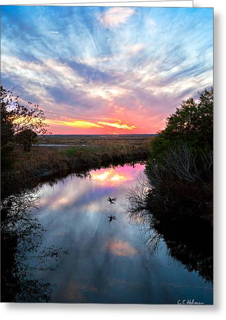 Christopher Holmes Greeting Cards - Sunset Over The Marsh Greeting Card by Christopher Holmes