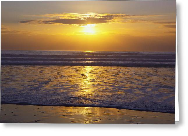 Reflections Of Sky In Water Greeting Cards - Sunset Over The Pacific Ocean Along The Greeting Card by Craig Tuttle