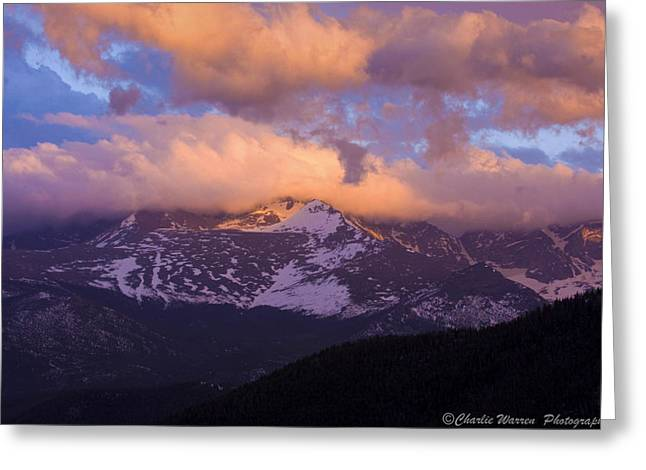 Sunset Over the Rockies Greeting Card by Charles Warren