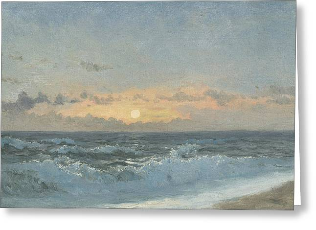 The Sea Greeting Cards - Sunset over the Sea Greeting Card by William Pye