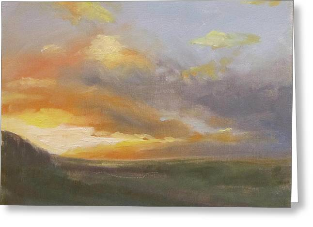 Sunset Over The Valley Greeting Card by Podi Lawrence
