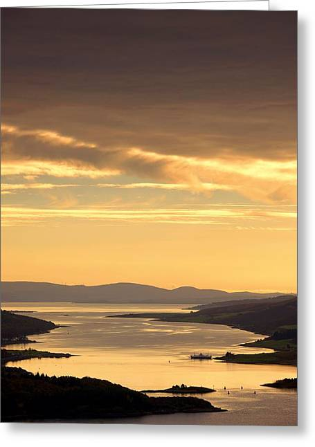 Peaceful Scenery Greeting Cards - Sunset Over Water, Argyll And Bute Greeting Card by John Short