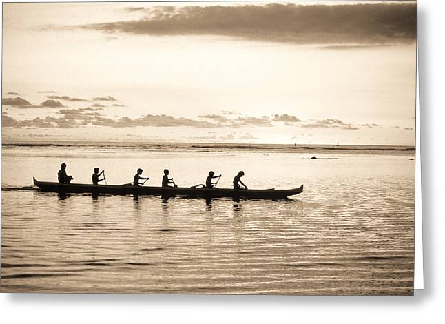 Culture Influenced Art Greeting Cards - Sunset Paddlers - Sepia Greeting Card by Joe Carini - Printscapes