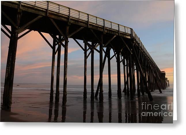 San Simeon Greeting Cards - Sunset Pier San Simeon California 4 Greeting Card by Bob Christopher