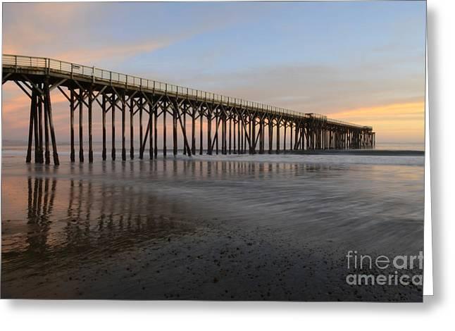 San Simeon Greeting Cards - Sunset Pier  California 5 Greeting Card by Bob Christopher