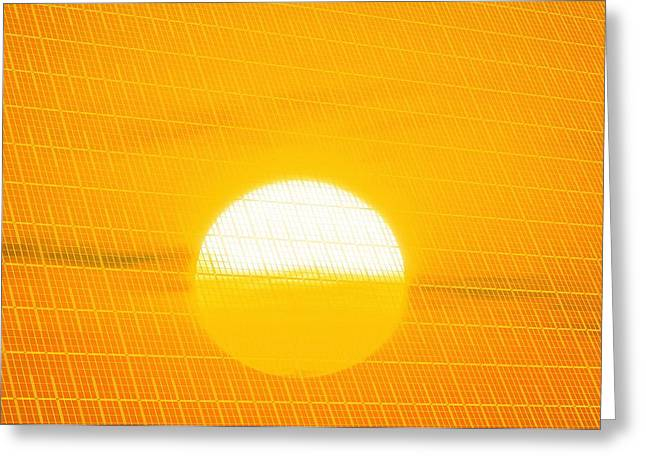 Non-polluting Greeting Cards - Sunset Reflection On Solar Panel, Artwork Greeting Card by Detlev Van Ravenswaay