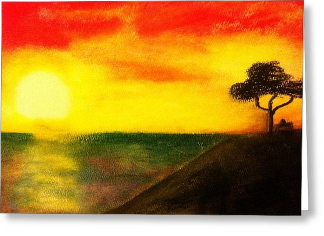 Burning Pastels Greeting Cards - Sunset Greeting Card by Ren Jay  Baisa