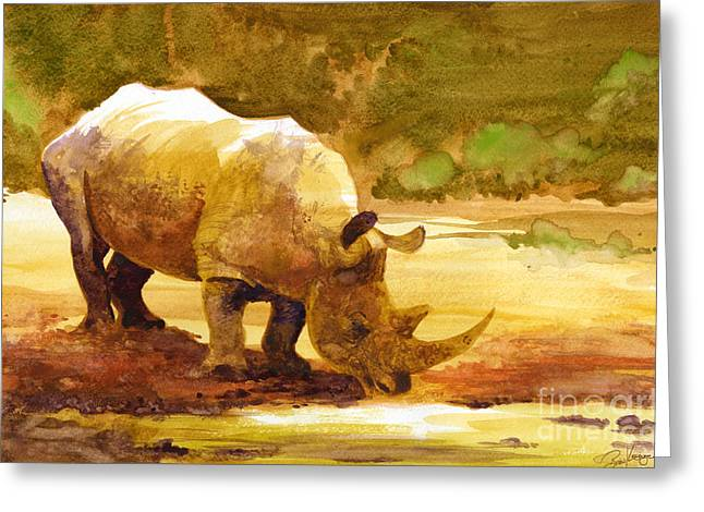 Recently Sold -  - Greeting Cards - Sunset Rhino Greeting Card by Brian Kesinger
